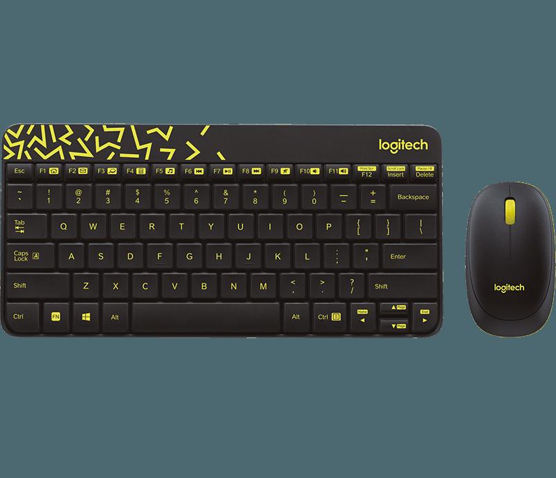 Logitech MK240 Wireless Keyboard and Mouse Combo  (Black&Chartreuse Yellow)