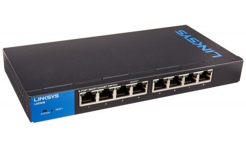 Thiết Bị Mạng Switch Linksys 8 Ports Business Smart Gigabit PoE+ LGS308P
