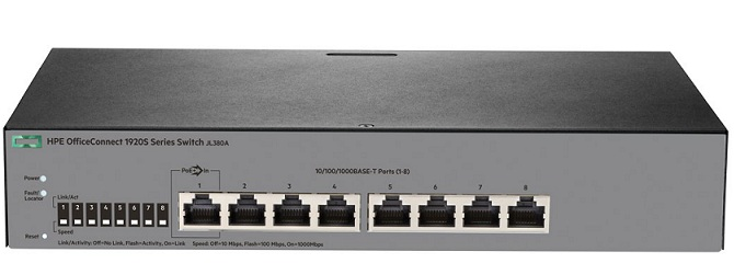 Thiết Bị Mạng Switch HPE 8Port 8G OfficeConnect 1920SS Autosensing 10/100/1000 ports JL380A