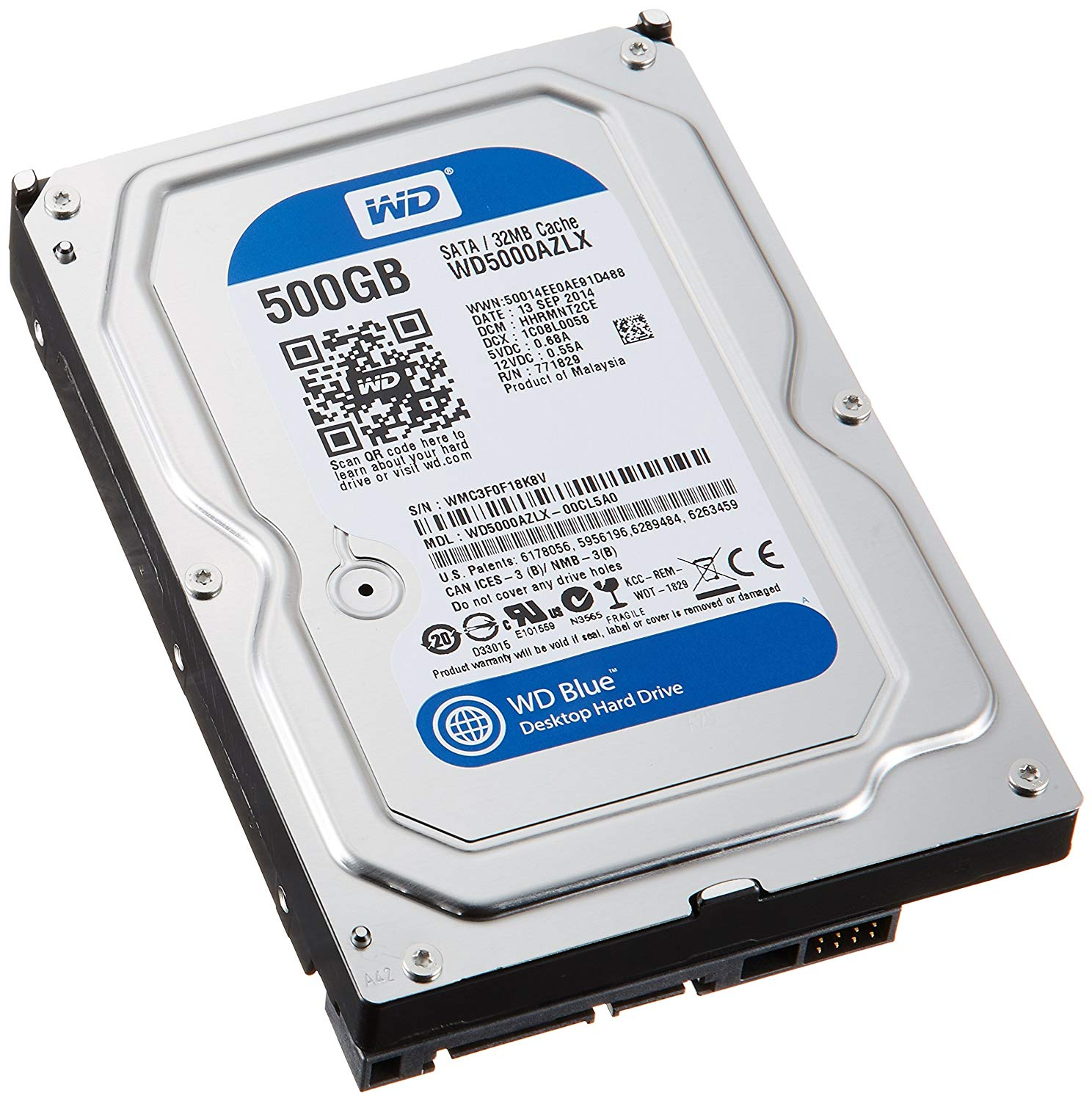 Western Digital Blue WD5000AZLX 500GB 7200 RPM 32MB Cache SATA 6.0Gb/s 3.5