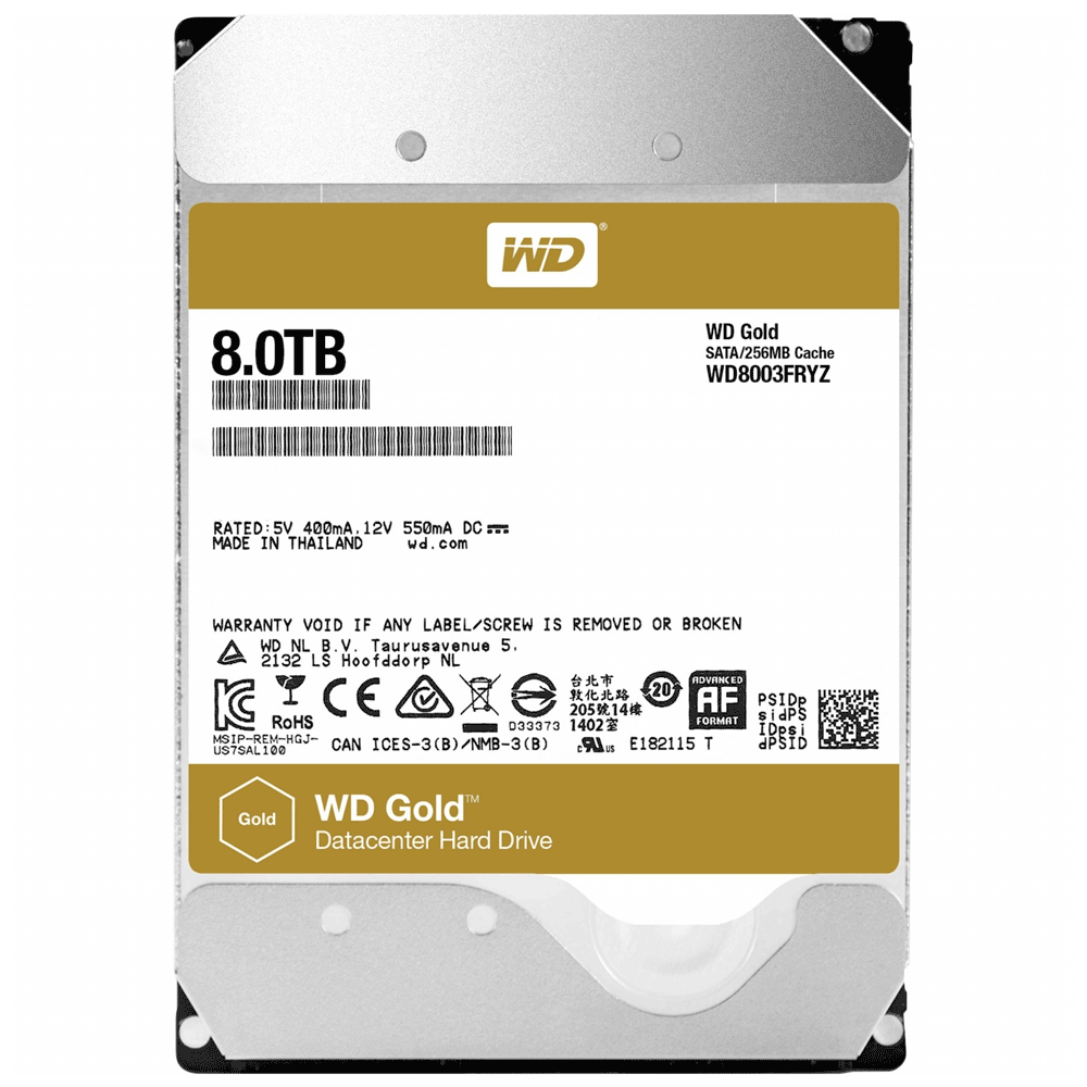 8TB WD Enterprise Gold Datacenter 7200 RPM SATA 6Gb/s WD8003FRYZ