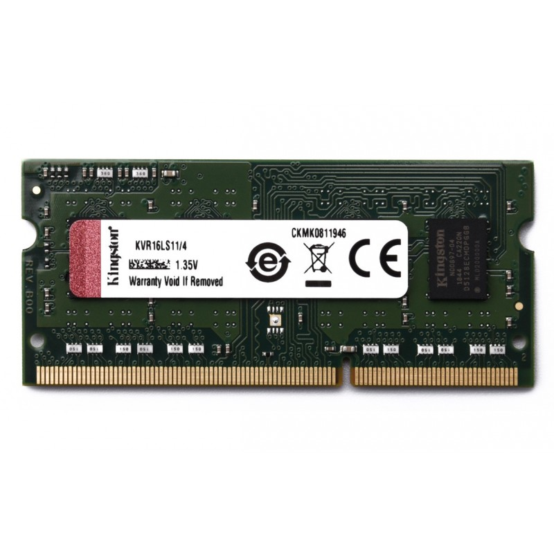 Kington 4GB 1Rx8 512M x 64-Bit PC3L-12800 CL11 204-Pin SODIMM