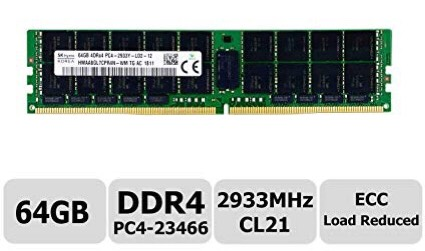Bộ Nhớ RAM 64GB PC4-23466 ECC 2933 MHz LRDIMMs