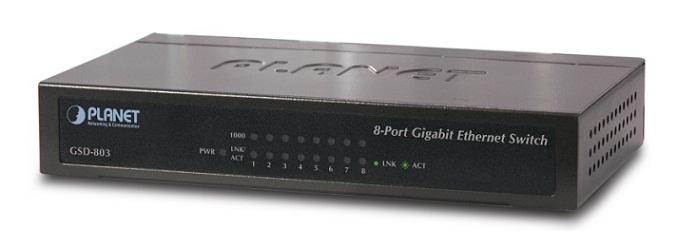 8 Port 10/100/1000Mbps Gigabit Ethernet Switch PLANET GSD-803