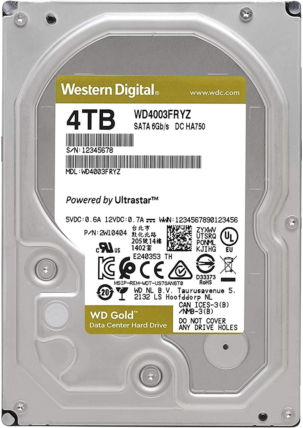 Ổ Cứng HDD Western WD Gold 4TB Enterprise Class Internal Hard Drive - 7200 RPM Class, SATA 6 Gb/s, 256 MB Cache, 3.5inch
