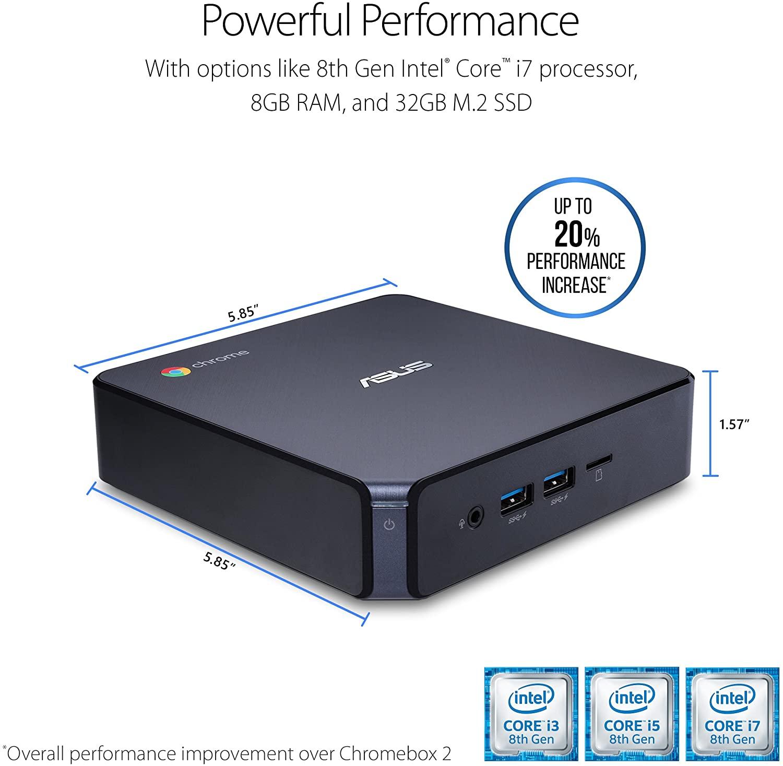 ASUS CHROMEBOX 3-N017U Mini PC with Intel Celeron, 4K UHD Graphics and Power Over Type C Port, Star Gray