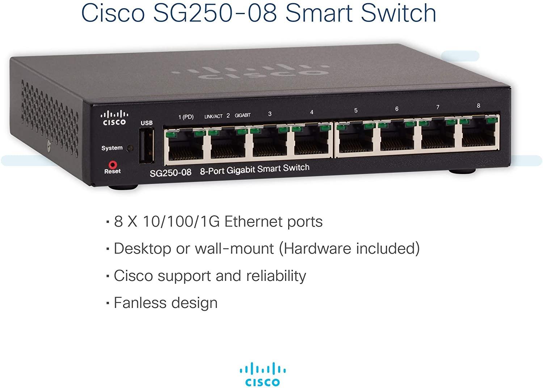 Thiết Bị Mạng Switch Cisco 8 Port Gigabit Smart SG250-08