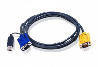 6M USB KVM Cable with 3 in 1 SPHD and built-in PS/2 to USB converter 2L-5206UP