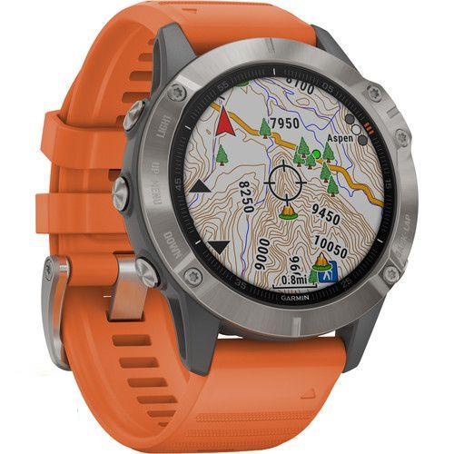 Vòng đeo tay theo dõi sức khỏe Garmin Fenix 6 – Titanium with Ember Orange Band, GPS_010-02158-55