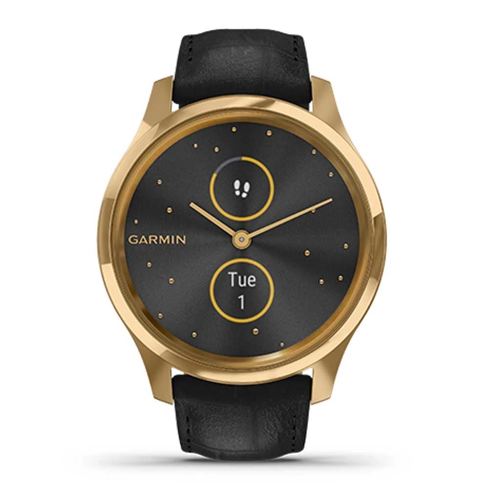 Vòng Đeo Tay Theo Dõi Sức Khỏe Garmin Vivomove Luxe Black Embossed Leather w/24K Gold_010-02241-82
