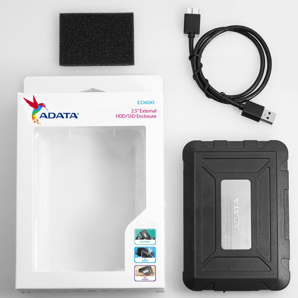 Box HDD SSD 2.5 inches USB 3.1 ADATA ED600 chống Sock