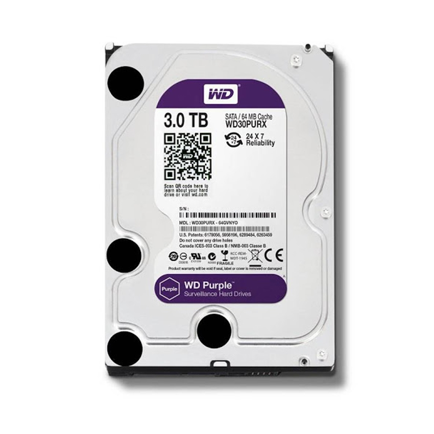 Ổ cứng HDD Western Purple 3TB 3.5 inch 5400RPM, SATA3 6Gb/s, 64MB Cache