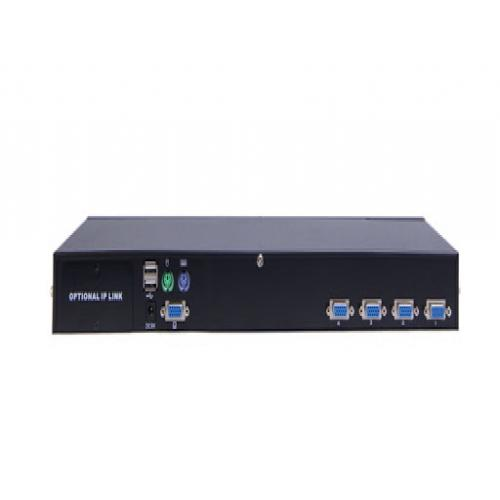 Rackmountable KVM Switch 4 port, support PS2 / USB, IP Optional design, included 4 pcs KVM Cable - AS-9104DU