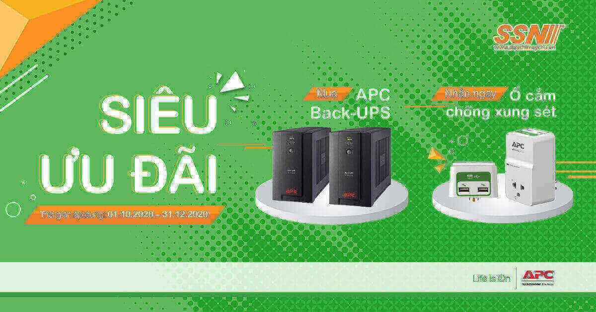 [Siêu ưu đãi] Mua APC Back-UPS tặng Ổ cắm chống xung sét