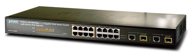 Thiết bị Mạng Switch PLANET 16 Ports FGSW-1828PS + 2 Gigabit TP/SFP PoE