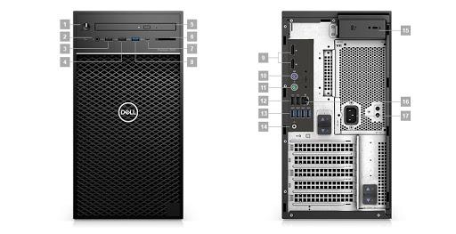 Máy Bộ PC Dell Precision 3640 Tower CTO BASE 42PT3640D10 (Intel Xeon W-1270 3.4GHz, 16MB/Ram 16GB(2x8GB) DDR4/HDD 2TB/Nvidia Quadro P620, 2GB, 4 mDP/DVDRW/Ubuntu)