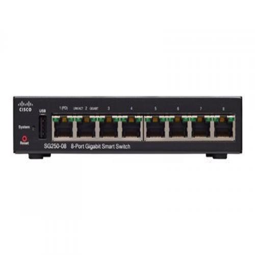 Thiết Bị Mạng Switch Cisco 8 Port Gigabit Smart SG250-08-K9-EU