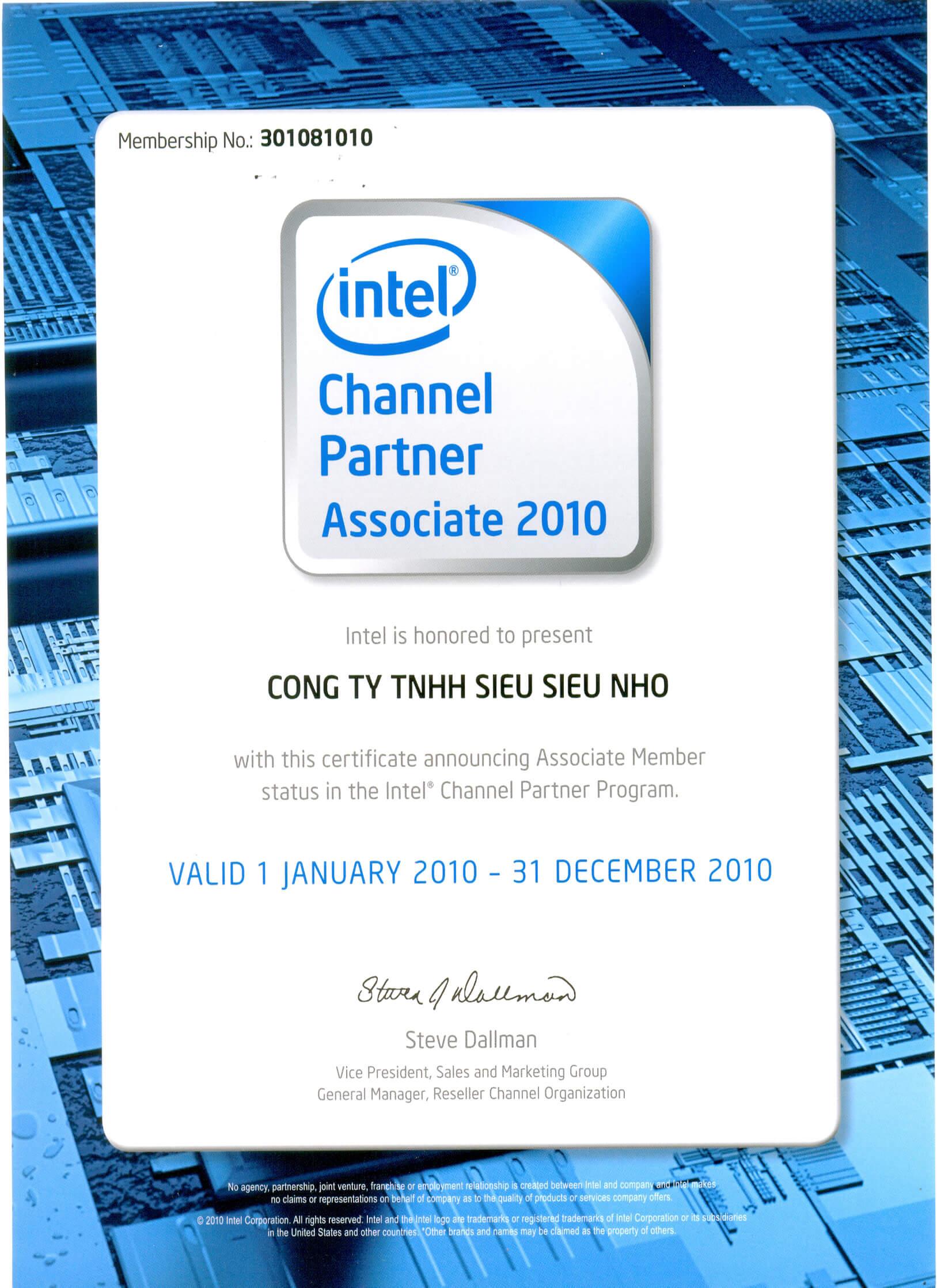 Chứng nhận là Chanel Partner associate 2010